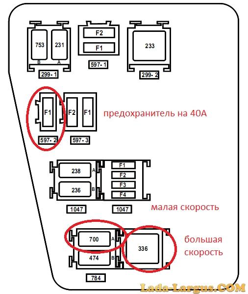Схему расположения реле в логане