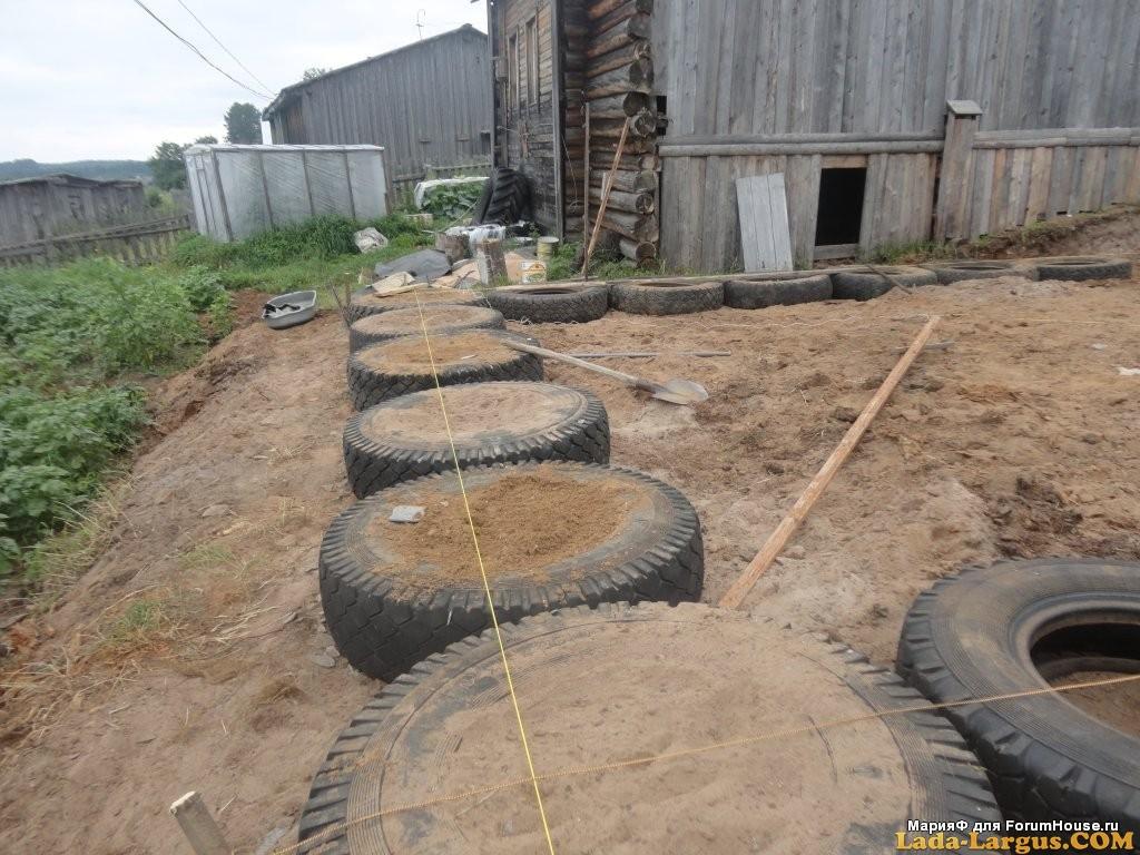 Фундамент из покрышек для гаража своими руками 2